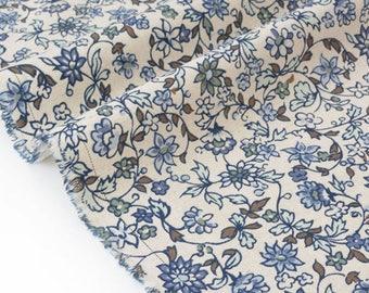 Linen fabric and cotton porcelain ecru background x 50cm