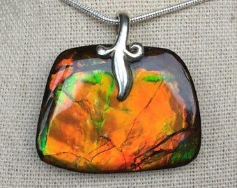 Ammolite Pendant, Bright Orange