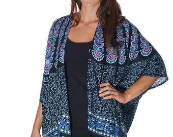 Black, Blue & Purple Beach Boho Kimono, Swim suit Cover Up