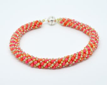 Vermilion and Topaz AB coloured Myuki seed bead Russian twist bracelet with sterling silver magnetic clasp. Long length