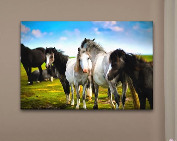 Horses Art canvas, Horses love canvas, Сute canvas, Art horse, zoo art, Interior decor, room decor, print poster, art picture, gift
