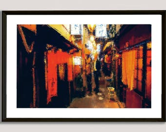 Asian Alley, painting, wall, print, decorative, home, office, restaurant, decor, apartment, art, illustration, picture, image, japan, china