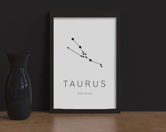 Printable Art / Taurus constellation astrological sign Zoodiac/ Mural Art/ print/ Home Decor Printable poster