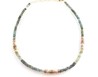 Beaded Choker with Aquamarine and Pink Silverite Gemstones, Stacking Layering Necklace, Boho Style Boutique Jewelry, Artisan Handcrafted