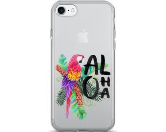 Aloha - Tropical Hawaiian Getaway Vacation Floral Macaw Parrot iPhone 7/7 Plus Case