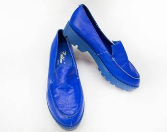 Vintage Blue Leather Flats