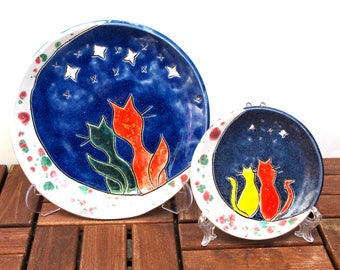 Plate with Cat romance at moonlight, Ceramic, Handmade, Set