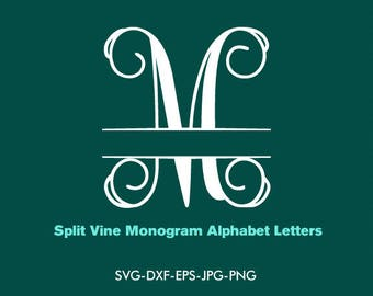 Split Vine Monogram Svg, Split Vine Font Svg Interlocking Monogram Alphabet , EPS png jpg files. svg dxf for Silhouette Cameo or Cricut