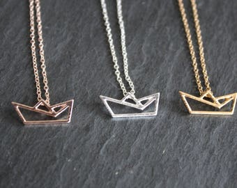 Necklace chain Paper Boat boat Maritim gold plated, silvered or in pink gold