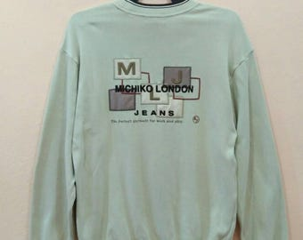 MICHIKO LONDON Sweatshirt jumper pullover spellout embroidery medium size