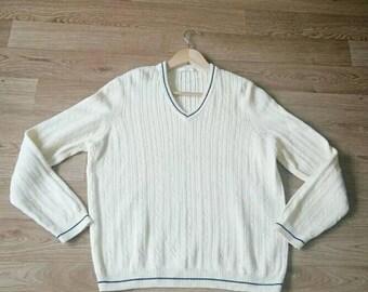 Vintage Marks & Spencer womens 100% cotton  w V nek beige sweater  jumper UK 12