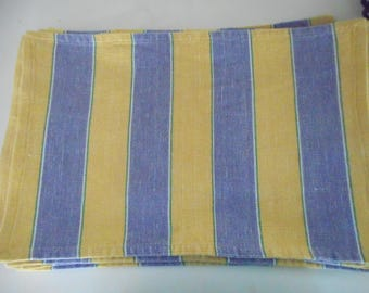 12 blue and yellow striped placemats