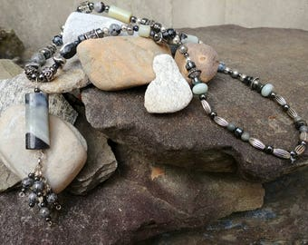 Black and white Agate, Snowflake Obsidian and Hematite Necklace