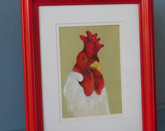 Rooster Head in Red Frame
