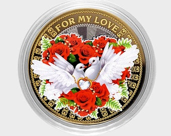 """Coin 10 rubles """"For my Love"""", Russia , color, in capsules,UNC."""