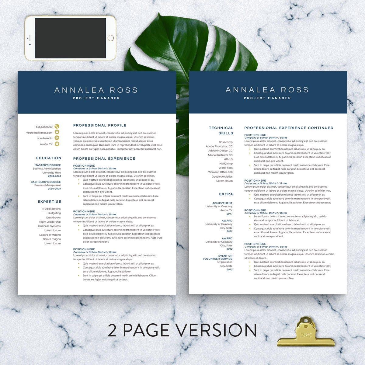 Modern Resume Template for Word | 1-3 Page Resume | CV Template ...