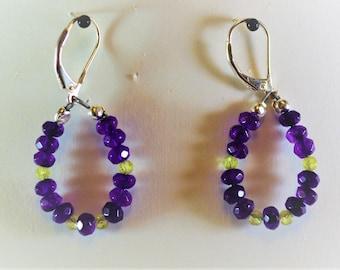 Amethyst and Peridot Sterling Silver Earrings