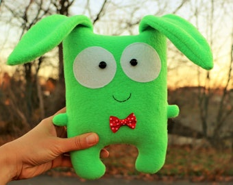 Easter plush bunny Woodland animal Stuffed green rabbit toy Cute Easter hare plushie doll Home decor Gift for boy mom Softie fluffy bunny