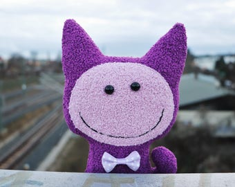 Smile toy Soft toy violet cat Smiley face toy Happy face Gift for children Plush toy Stuffed toy