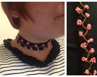 Cherry Blossom Embroidered Ribbon Tie Choker Necklace