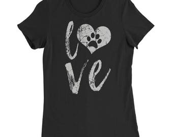 Women's Slim Fit T-Shirt Love Dog Paw Print In Heart Dog footprints Cute for women gift
