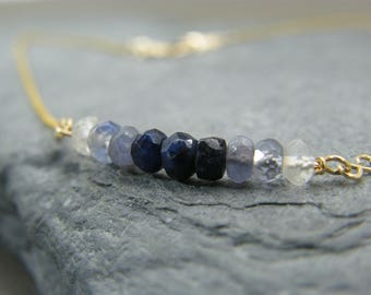 Sapphire gold necklace ~ September birthstone ~ Ombre Sapphire Necklace ~ Genuine sapphire necklace ~ Gold sapphire necklace ~ Gift for her