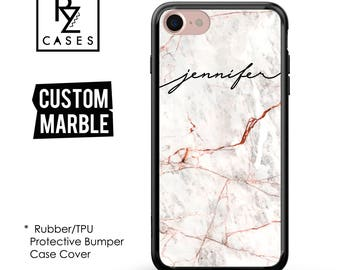 Rose Marble Phone Case, Marble iPhone 7 Case, Personalized Gift, iPhone 7, Gift for Her, 7 Plus Case , iPhone 6S,Rubber, Bumper