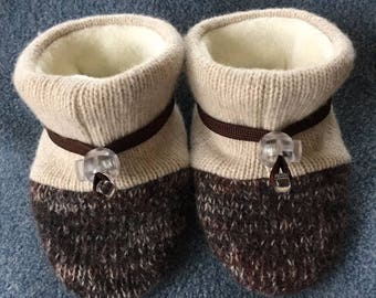 Tan and brown wool baby booties from Toggle Toes, non-slip soft sole shoe, in infant 4-12 months or baby shoe size 1-3.5