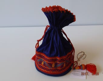 Mixed Cotton Blue Batua / Ladies Pouch / Coin Purse, Nakshi Kantha Stitch on Red