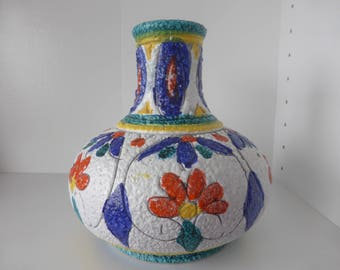 Fratelli Fanciullacci Beautiful Vase With Decor of Flowers, Formnumber 524, Italy 1960