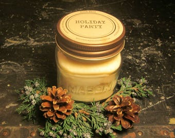 HOLIDAY PARTY // Soy Candle // Wood Wick // Mason Jar // 35 to 40 hours // Christmas // Holiday // Novelty // Fun