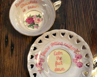 Love Poem Vulgar Tea cup and saucer set.| Vintage vulgar Royal Sealy| Roses are Red. Chocolate is Brown...