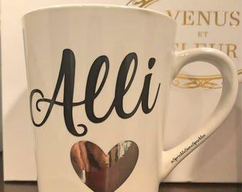 Custom Name Mug with Heart/Coffee Mug with Name