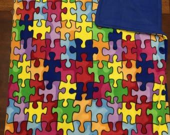 Autism Awareness Puzzle Pieces Adult Fleece Blanket