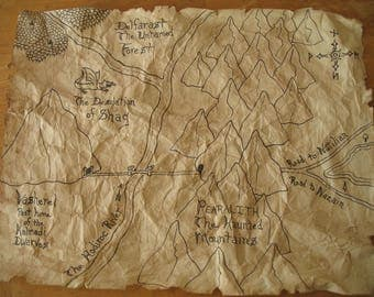 Hand Drawn Fantasy Lord of the Rings / Hobbit Style Map