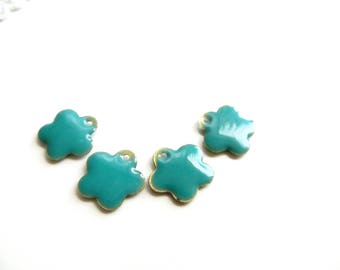 4 sequins 15mm turquoise enameled metal flower