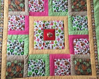 Children patchwork quilt baby blanket squirrel