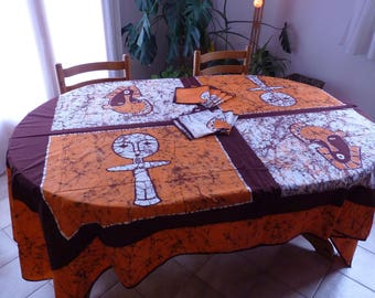 Nappe 8 couverts avec serviettes assorties en Batik