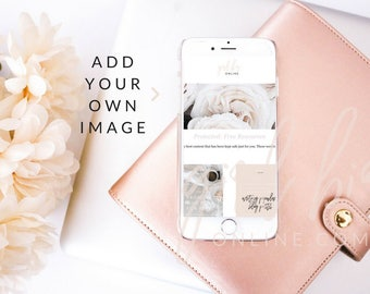 Peach and Floral Styled Stock Photo | iPhone Mockup (Digital Image / Styled Photos / Stock Images / Blog Stock / Blog Image)