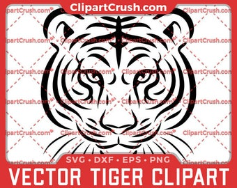 Vector Tiger Svg, Dxf, Eps, Png - Tiger Mascot Clipart Silhouette Cameo Cutting Files