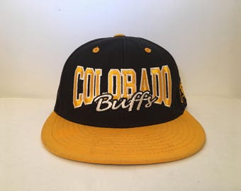 Vintage 1990s Colorado Buffaloes Buffs Top of the World Black/Yellow Snapback Hat