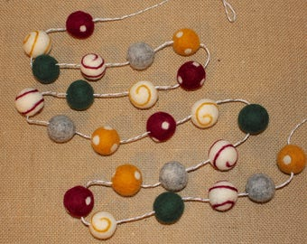 Fall Felted wool Ball Garland