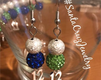 Lady 12 Seahawks Inspired Crystal Earrings