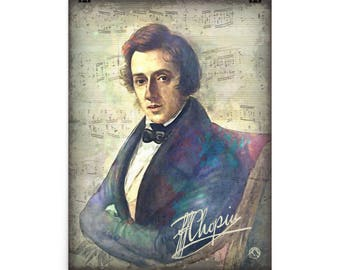 Frederic Chopin Portrait for Piano Music Lovers and Teachers | Chopin Poster Print | Chopin Collectibles | Digital Watercolor Painting