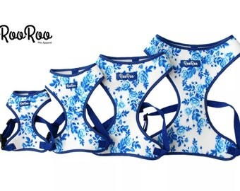 Roo Roo Pet Luxury Dog Blue Flower Harness S M L XL