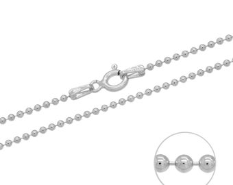 925 Sterling Silver Ball Bead 1.2mm Chain Necklace 16 18 20 22 24 26 28 30 inches