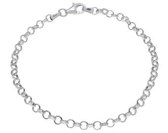 "Sterling Silver Belcher Bracelet 3.4mm 6.5"" 7"" 7.5"" inches"