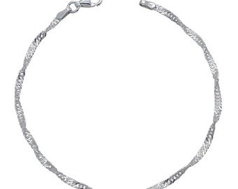 "Sterling Silver Singapore Bracelet 2mm 6.5"" 7"" 7.5"" inches"