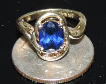 Solid 14 Yellow Gold Blue Sapphire Diamond Ring 4.28 Grams 2.23 ct Size 7.25