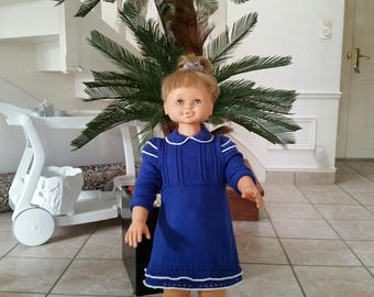 Blue dress with white piping